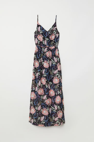 Maxi dress - Black/Floral - Ladies | H&M CN