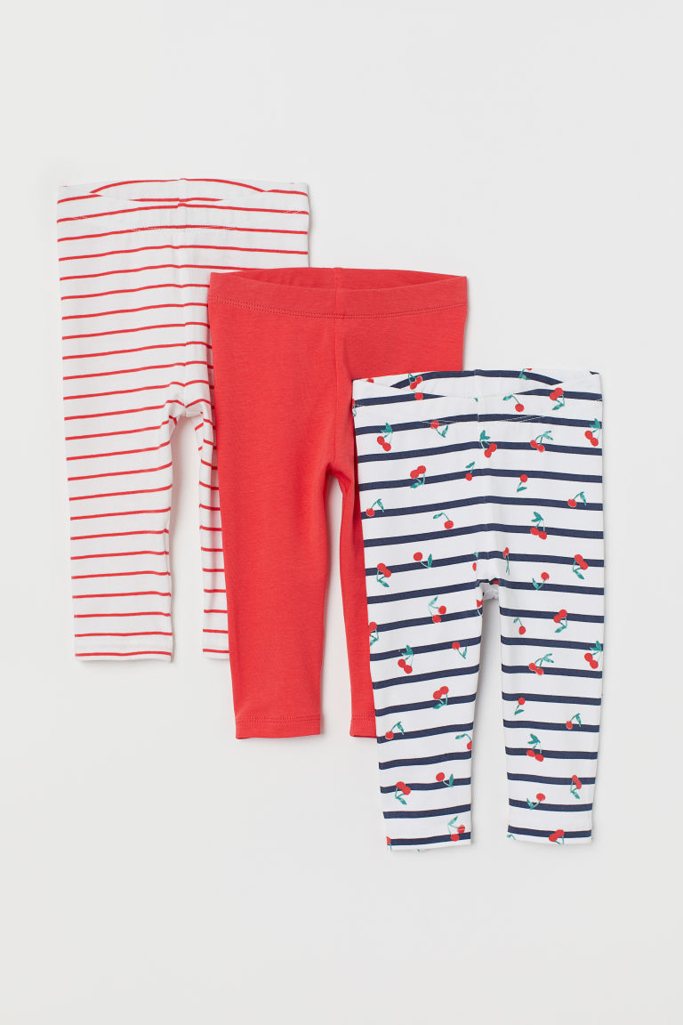 3-pack leggings - White/Cherries - Kids | H&M GB