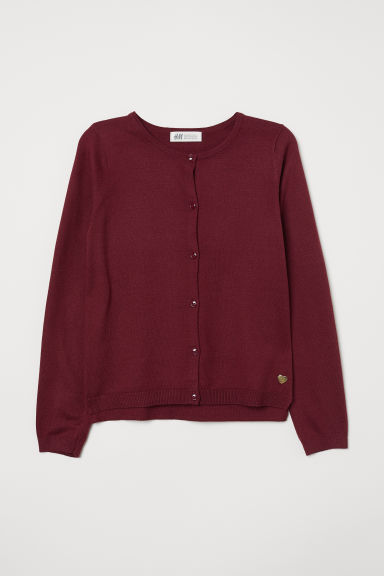 Fine-knit cardigan - Burgundy - Kids | H&M