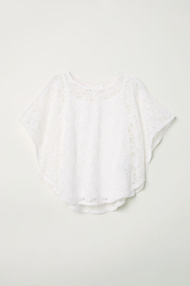 Wide printed top - White/Lace -  | H&M