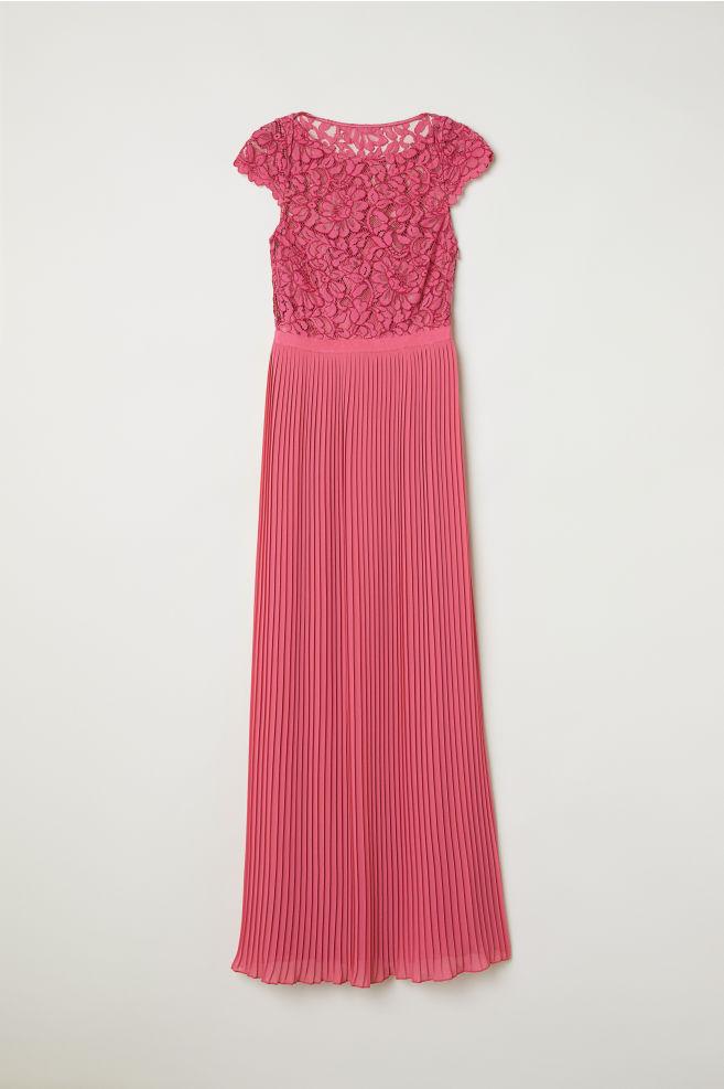 77cd962940bd6e Extreem Maxi-jurk met plissérok - Roze - DAMES