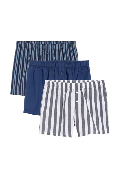 3-pack woven boxer shorts - Dark blue/Striped -  | H&M GB