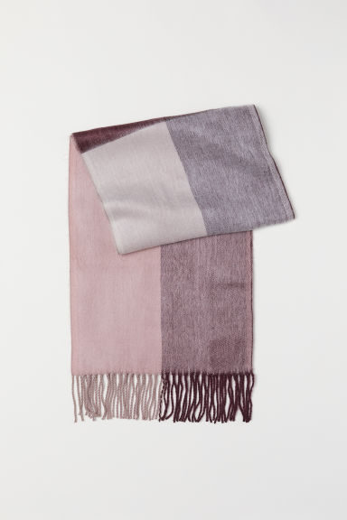 Woven scarf - Burgundy/Checked - Ladies | H&M GB
