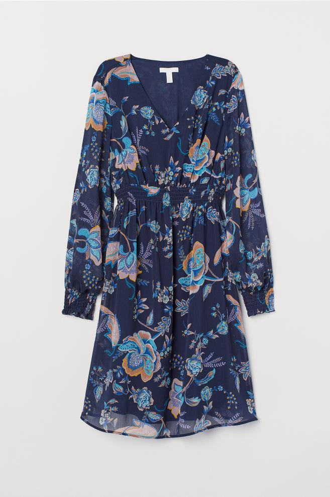 ec97da25f18a1 MAMA Smocked Dress - Dark blue/patterned - Ladies | H&M ...