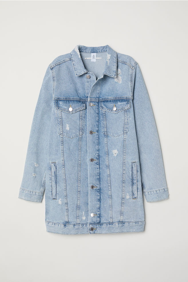 5d98008b89 ... Long Denim Jacket - Light denim blue Trashed - Ladies