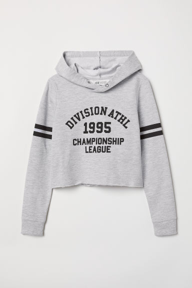 Short hooded top - Grey marl/Division - Kids | H&M CN