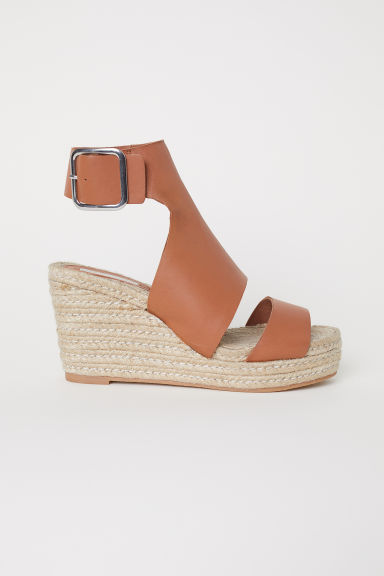 Wedge-heel Sandals - Tawny brown - Ladies | H&M CA