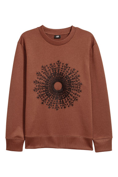 Sweatshirt with embroidery - Brown -  | H&M