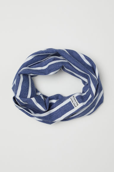 Ribbed tube scarf - Dark blue/White striped - Kids | H&M