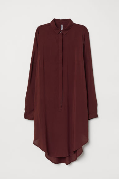 Long-sleeved tunic - Burgundy -  | H&M