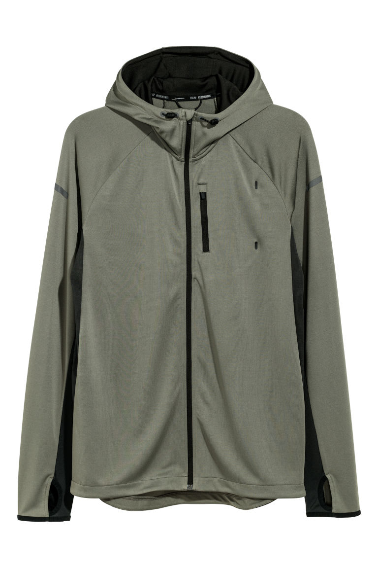 Hooded running jacket - Khaki green - Men | H&M