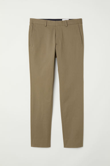 Cotton twill chinos - Khaki green -  | H&M GB