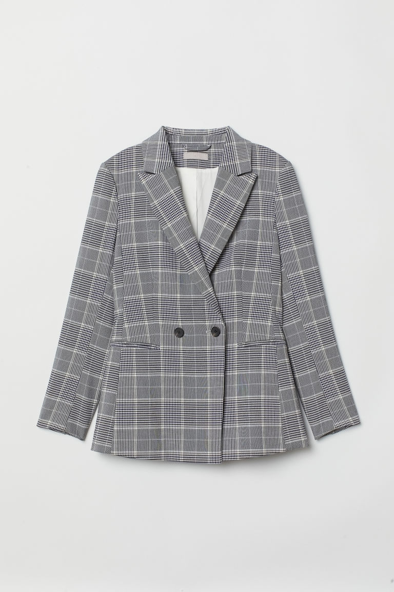 Blazer à double boutonnage - Gris/carreaux -  | H&M BE