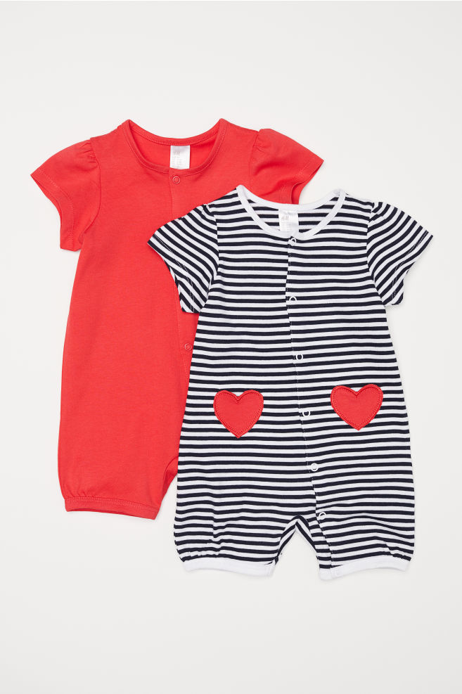 04373b6bb 2-pack all-in-one pyjamas - Red Striped -