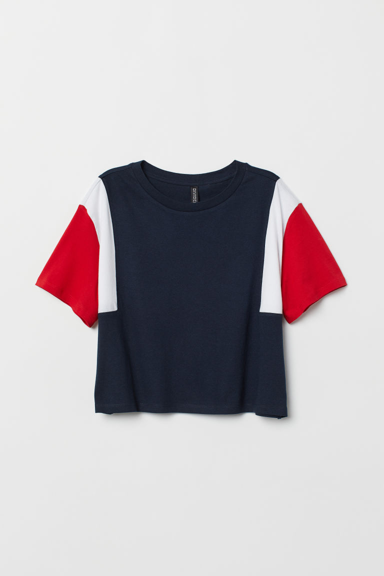 Block-patterned T-shirt - Dark blue/Block-coloured -  | H&M