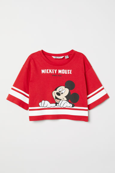 Short printed T-shirt - Red/Mickey Mouse - Kids | H&M CN