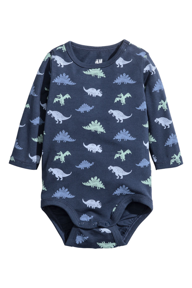 Long-sleeved bodysuit - Dark blue/Dinosaurs - Kids | H&M CN