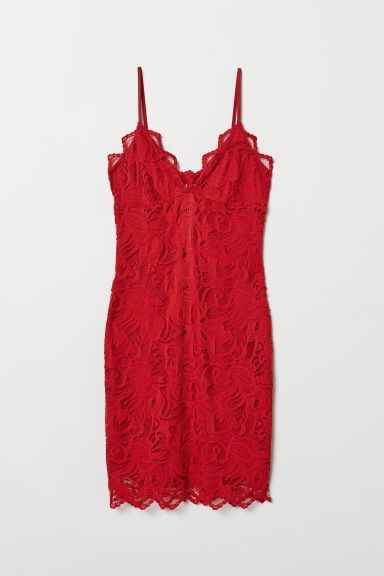 Lace dress - Dark red - Ladies | H&M GB