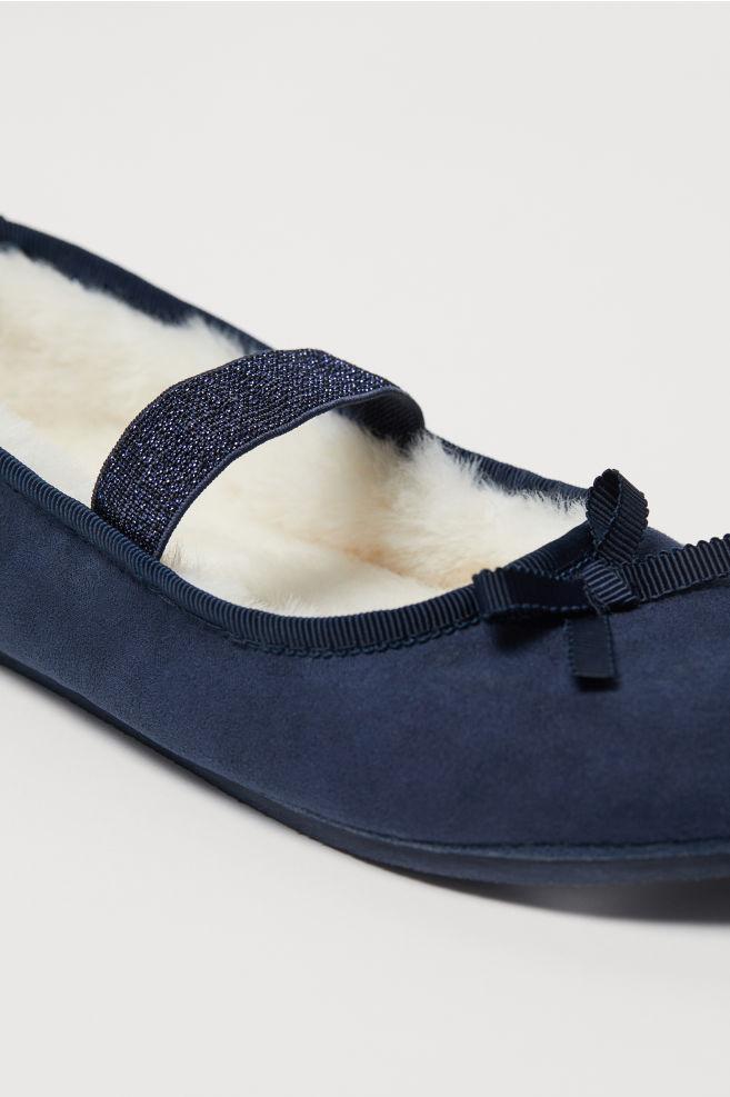 95ee470372b4 ... Pile-lined Ballet Slippers - Dark blue - Kids