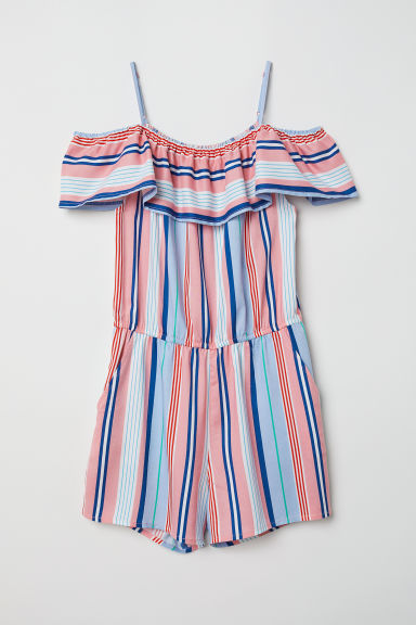 Off-the-shoulder playsuit - Light pink/Striped -  | H&M CN