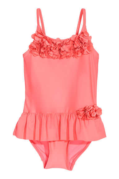Swimsuit with a flounce - Neon pink -  | H&M CN