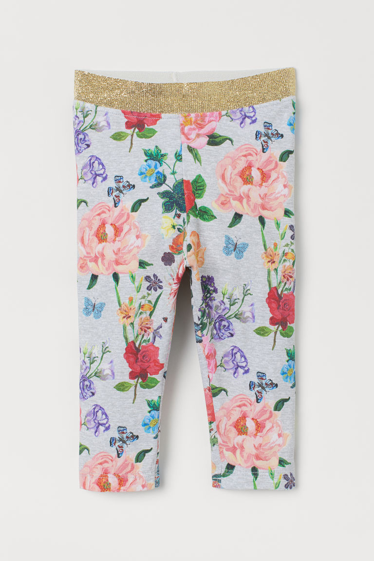 Patterned leggings - Grey marl/Floral - Kids | H&M