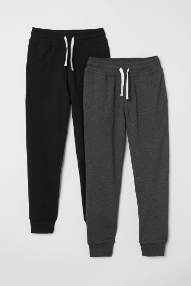 2-pack joggers - Grey marl/Black - Kids | H&M CN