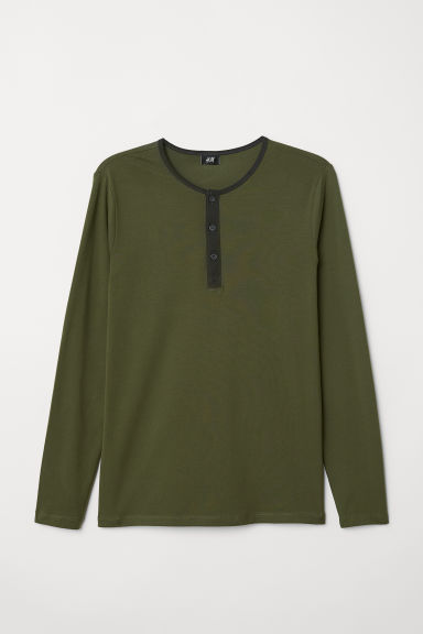 Long-sleeved top Muscle Fit - Dark green -  | H&M