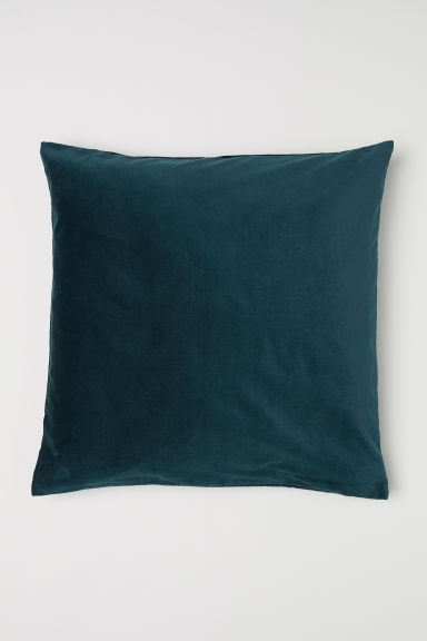 Cotton velvet cushion cover - Emerald green - Home All | H&M CN