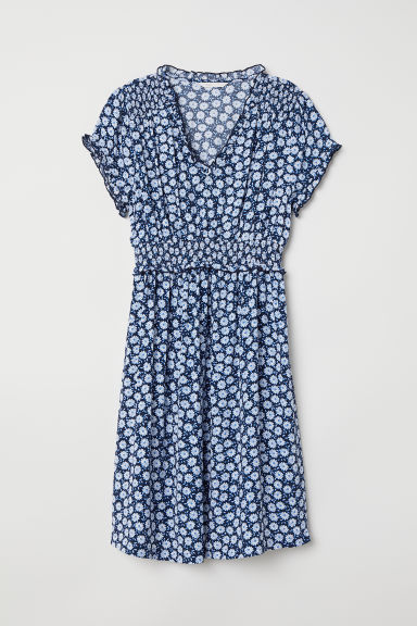 MAMA Dress with smocking - Dark blue/Floral - Ladies | H&M CN