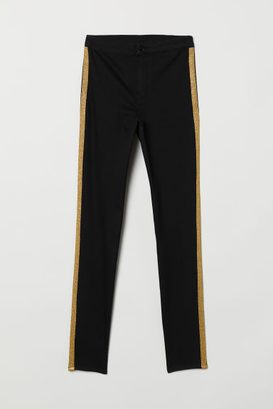 Twill side-striped trousers - Black/Gold-coloured -  | H&M