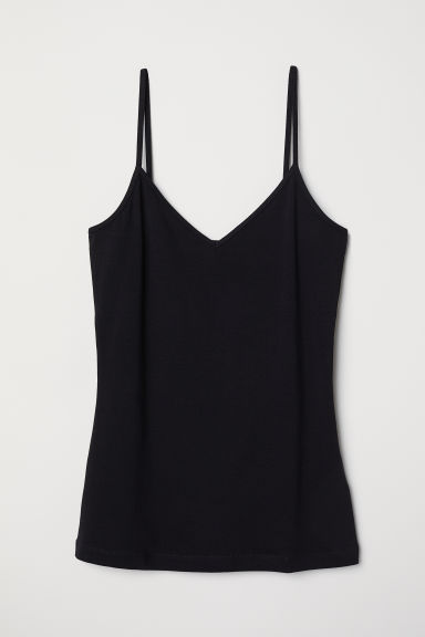 Canotta in jersey scollo a V - Nero - DONNA | H&M IT