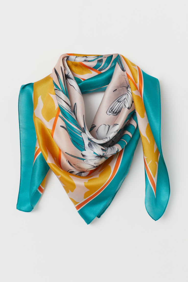 Patterned Silk Scarf - Turquoise/leaf-patterned - Ladies | H&M US