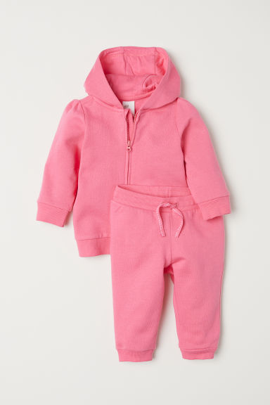 Hooded jacket and joggers - Pink -  | H&M CN