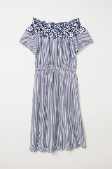 Off-the-shoulder dress - Dark blue/Striped - Ladies | H&M