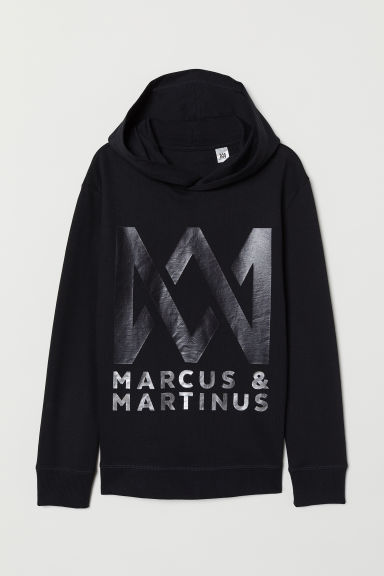 Printed hooded top - Black/Marcus & Martinus - Kids | H&M