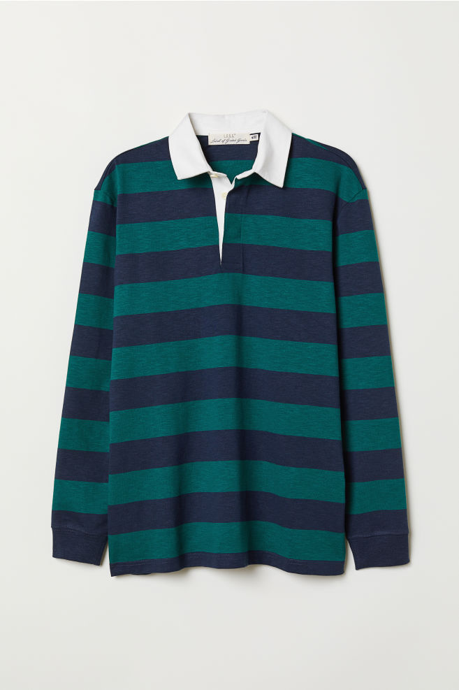 Slub Jersey Rugby Shirt Dark Green Blue Striped Men H M