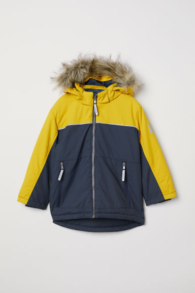 Waterproof padded jacket - Yellow/Dark blue - Kids | H&M