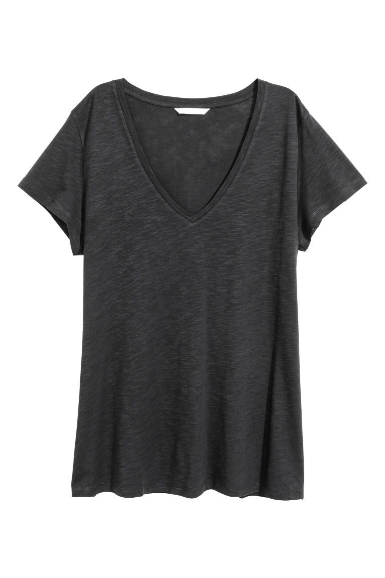 Slub jersey V-neck top - Black - Ladies | H&M CN