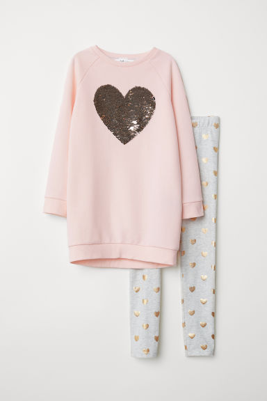 Sweatshirt and leggings - Light pink/Hearts - Kids | H&M