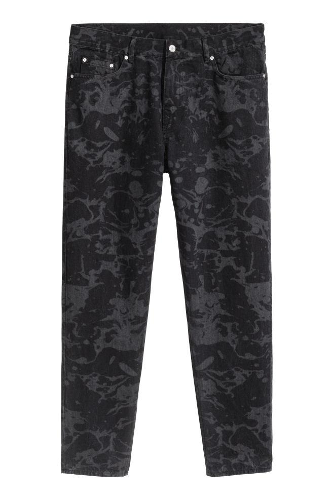 6fc48f7f2a7f Slim Regular Cropped Jeans - Gris noir à motif - HOMME