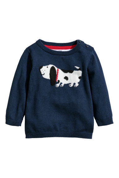 Jacquard-knit jumper - Dark blue/Dog - Kids | H&M CN