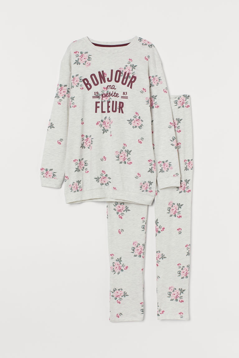 Pyjamas - Light grey marl/Floral - Kids | H&M IN