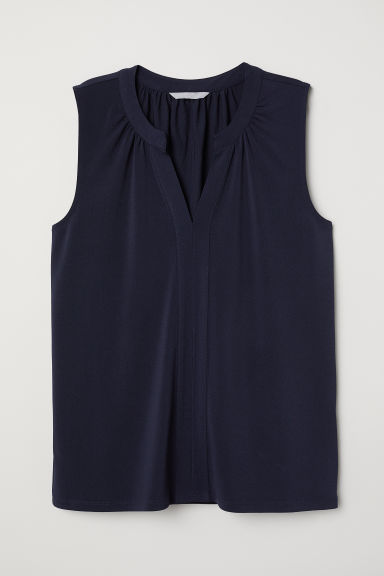 Sleeveless top - Dark blue - Ladies | H&M CN