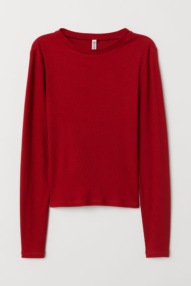 Ribbed top - Dark red -  | H&M CN