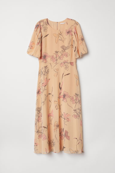 Patterned chiffon dress - Light apricot/Floral - Ladies | H&M CN