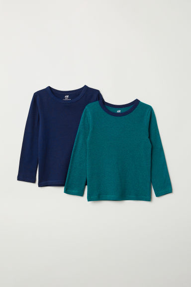 2-pack jersey tops - Green/Dark blue - Kids | H&M