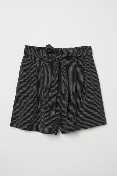 Paper bag shorts - Black/Striped - Ladies | H&M
