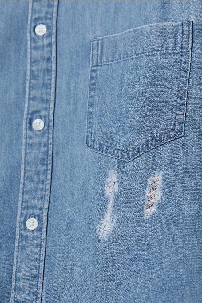 Trashed jeansskjorta - Ljus denimblå - HERR  e4ec2dc13f86e