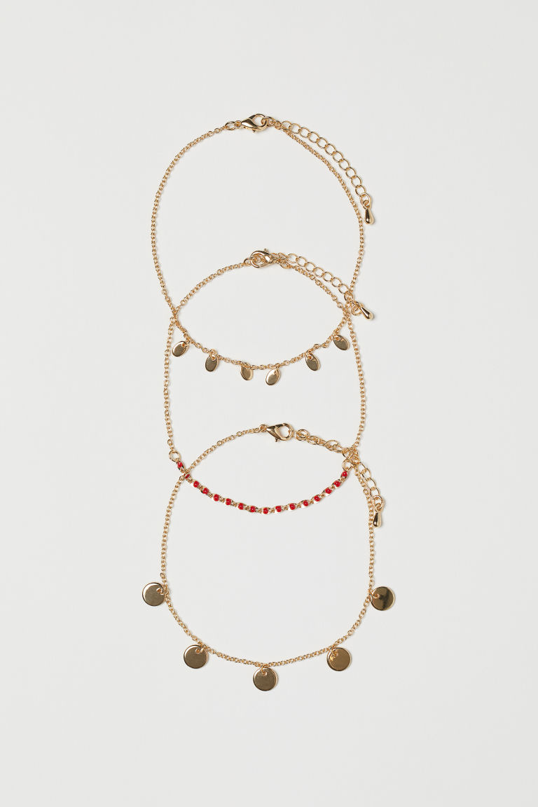298c392d4 3-pack Anklets - Gold-colored - Ladies